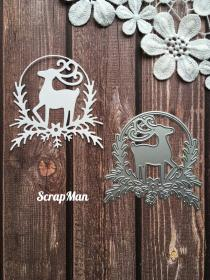 "Die ""Wreath with Deer"" ScrapMan"