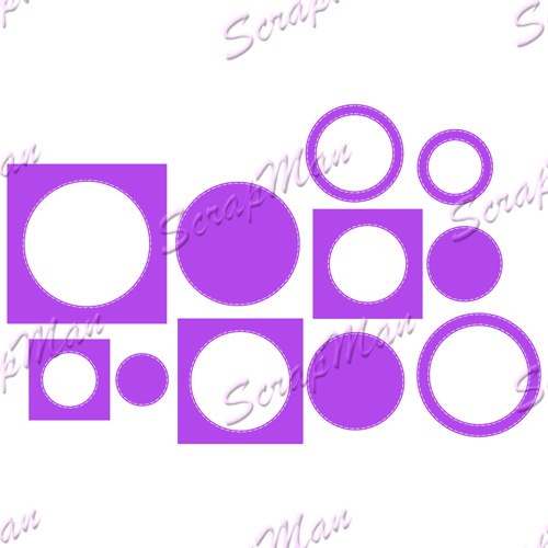 "Set of dies  "" Circles with a line 2  ""  Scrapman"