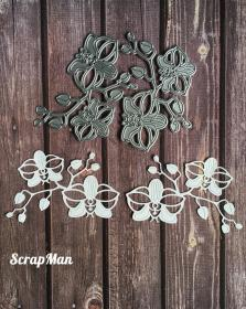 "Set dies ""Orchids with buds"" ScrapMan"